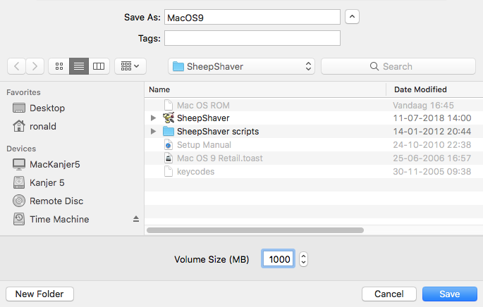 Setting up SheepShaver for OSX/macOS on Intel Macs [E